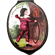 Battersea Bilston Enamel – Enjoyment, Boy ,Squirrel - Patch Box – c 1780
