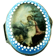 Rare Battersea Bilston Enamel – Portrait Miniature – Patch Box C 1780