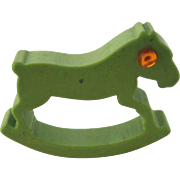 Bakelite Rocking Horse Figural Napkin Ring – Avocado Green
