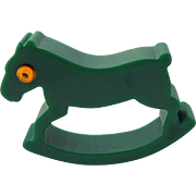 Bakelite Rocking Horse Figural Napkin Ring – Green