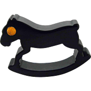 Bakelite Rocking Horse Figural Napkin Ring – Black