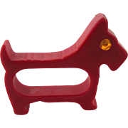 Bakelite Figural Scottie Dog Napkin Ring – Red