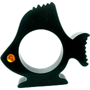 Bakelite Figural Fish Large Fin Napkin Ring – Dark Green