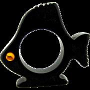 Bakelite Figural Fish Large Fin Napkin Ring – Black