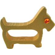 Bakelite Figural Scottie Dog Napkin Ring – Yellow