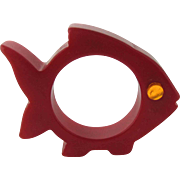 Bakelite Figural Fish Small Fin Napkin Ring – Red