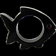 Bakelite Figural Fish Small Fin Napkin Ring – Black