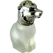 Vintage Glass & 830 Silver Figural Bear Salt or Pepper Shaker