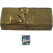 Antique Bronze Stamp Box Child -  Signed P. Tereszczuk