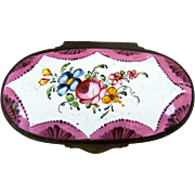 Battersea Bilston English Enamel Snuff Box – Roses - C 1780