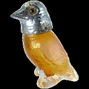 Vintage Orange Glass Figural Bird Salt or Pepper Shaker