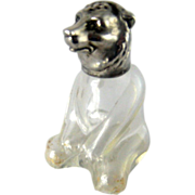 Vintage Glass & Silver Figural Bear Salt or Pepper Shaker