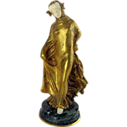 Art Nouveau Gilt Bronze Woman Statue