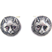 Pair Vintage Cat Cufflinks Sterling Silver