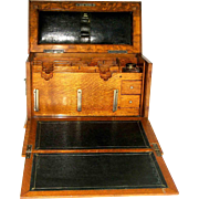 Victorian Oak Campaign Traveling Lap Desk, Letter Holder - C 1890
