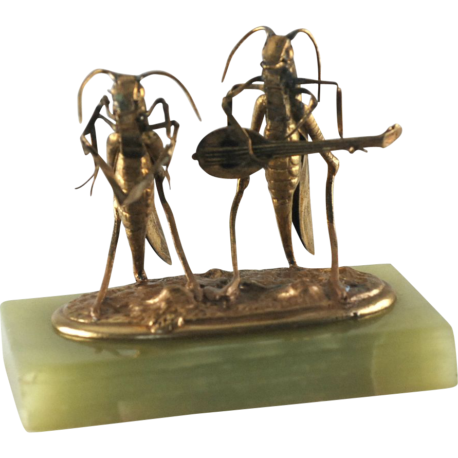 Victorian Dore Bronze Insects Crickets Musician & Singer