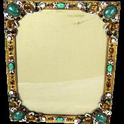 Vintage Austrian Bronze Czech Jeweled Easel Back Picture Frame