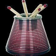 Cranberry Sterling Silver Threaded Glass Match Striker – c 1936