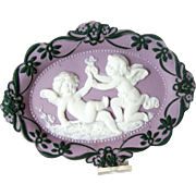 Schafer Vater German Porcelain Jasperware Plaque - Cherubs¬