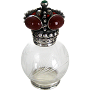 Antique Whiting Sterling Silver and Carnelian Crown Perfume Scent Bottle