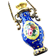 ON HOLD for LC - French Enamel Chatelaine Perfume Scent Bottle circa 1880