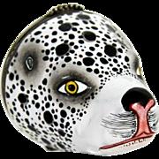 Battersea Bilston Dalmatian Dog head Figural Bonbonniere Box – Circa 1780