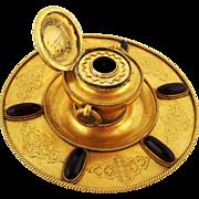 Large Gilt Bronze & Garnet Inkwell – Napoleon III