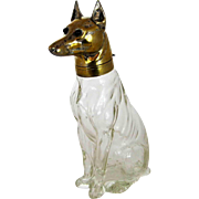 Antique Austrian Figural Decanter – German Shepherd Dog – Crystal &  Brass