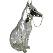 Rare Austrian Figural Decanter – German Shepherd Dog – Crystal & Silver Plate