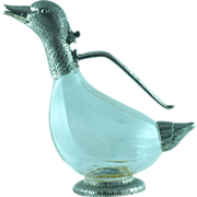 Vintage Pewter and Glass Duck Figural Decanter - HOLD for A.A