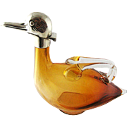 Amber Glass Duck Figural Decanter Silver Plate – Austria 1910