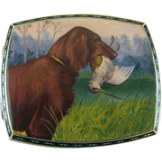 Silver and Enamel Irish Setter Bird Dog Cigarette Case - c 1920