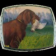 Silver and Enamel Irish Setter Bird Dog Cigarette Case - c 1920