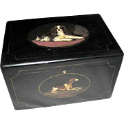 Large Wood Cigar Humidor - Dogs - King Charles Spaniel - Hand Painted – Antique