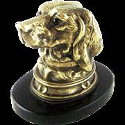 Victorian Bronze Figural Dog Head Inkwell – c 1880