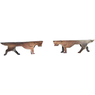 Pair Art Deco Knife Rests – Dog Schnauzer – Silver Plate