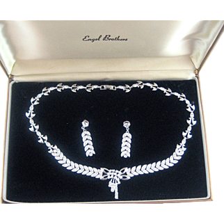Sterling Silver Engel Brothers Rhinestone Necklace Earrings Boxed