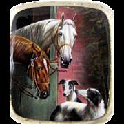 Enamel Cigarette Case Horses  and Dogs -  Alpaca  - c 1920
