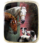 Enamel Cigarette Case Horses  and Dogs -  Alpaca  - c 1920 On HOLD for JK