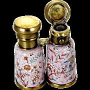 Victorian Silver Enamel Perfume Scent Bottle – Form of Opera Glasses