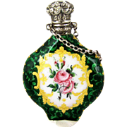 C 1880 Enamel Chatelaine Scent Perfume Bottle - French - Floral
