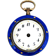 Blue Guilloche Enamel on Silver Chatelaine Pocket Watch – Sold as is