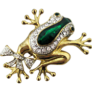 Large Vintage Frog with Rhinestone Bow Brooch