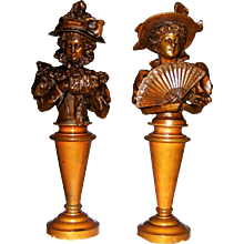 19th C Bronzes Pair Fashion Ladies with Muff and Fan