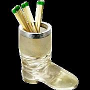 London 1901 Silver Glass Boot Match Striker Vesta