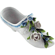 Antique German Bisque Shoe – Applied Flowers – c 1900