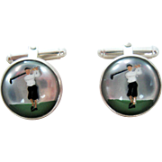 Pair Vintage Lady Golfer Essex Crystal Sterling Silver Cufflinks