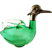 Green Glass Duck Figural Decanter Czechoslovakia Karl Palda - c 1930