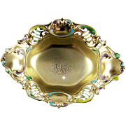 Antique Dish Gilt Enamel Sterling Silver Gorham 1895