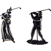 Pr. Sterling Silver Man and Woman Golfers – Menu - Place Card Holders